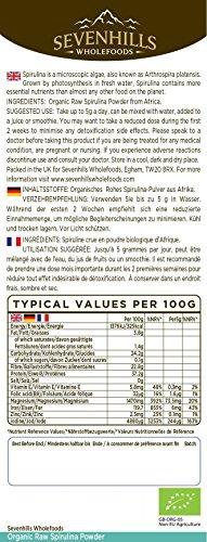 Sevenhills Wholefoods Rohes Spirulina-Pulver Bio 250g -