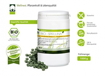Wellnest Bio Spirulina (1000g), rückstandsgeprüft (2500 naturreine Presslinge à 400mg) -