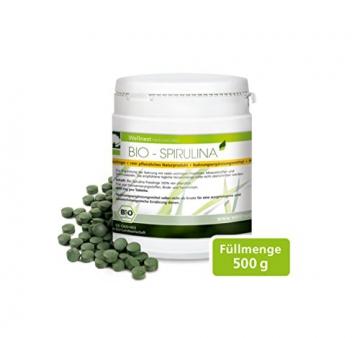 Wellnest Bio Spirulina 500 g (1250 Presslinge à 400 mg) - in Deutschland auf Reinheit geprüft -
