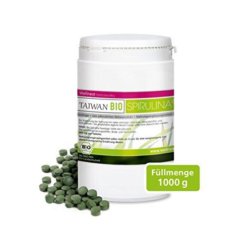 Wellnest Taiwan Bio Spirulina (1000g), rückstandsgeprüft (2500 naturreine Presslinge à 400mg) -