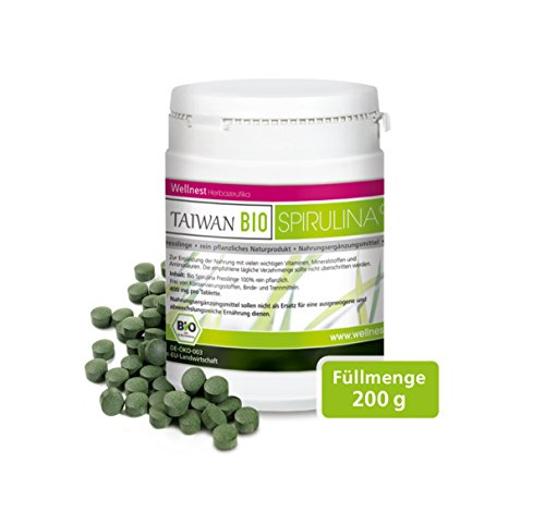 Wellnest Taiwan Bio Spirulina (200g), rückstandsgeprüft (500 naturreine Presslinge à 400mg) -