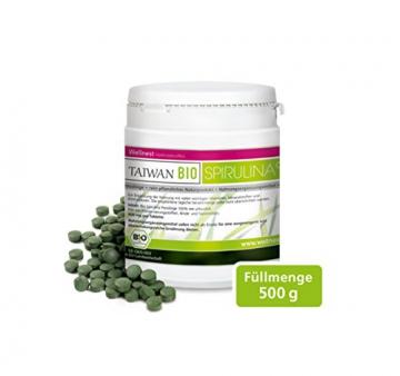 Wellnest Taiwan Bio Spirulina (500g), rückstandsgeprüft (1250 naturreine Presslinge à 400mg) -