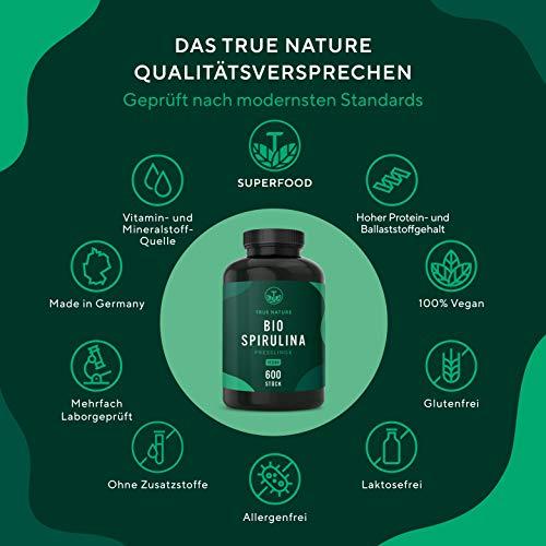 TRUE NATURE® Bio Spirulina Presslinge - 600 Tabletten je 500mg - 6.000mg Hochdosiert - 100% Reine Spirulina Algen aus kontrolliert biologischem Anbau - Vegan, Laborgeprüft, Hergestellt in Deutschland - 2