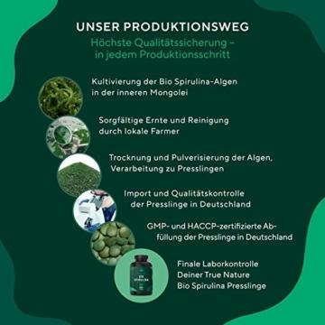 TRUE NATURE® Bio Spirulina Presslinge - 600 Tabletten je 500mg - 6.000mg Hochdosiert - 100% Reine Spirulina Algen aus kontrolliert biologischem Anbau - Vegan, Laborgeprüft, Hergestellt in Deutschland - 3