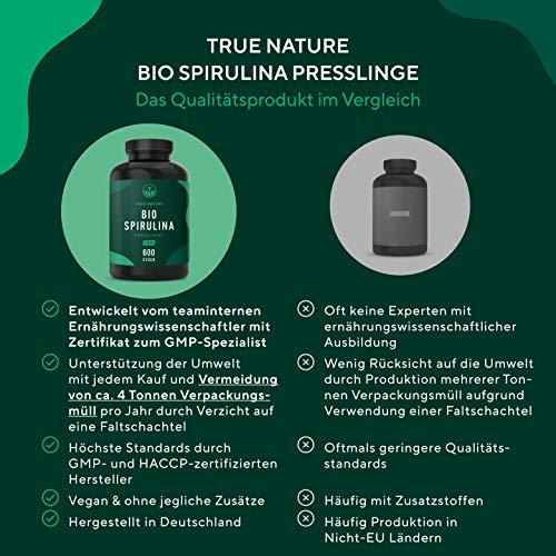 TRUE NATURE® Bio Spirulina Presslinge - 600 Tabletten je 500mg - 6.000mg Hochdosiert - 100% Reine Spirulina Algen aus kontrolliert biologischem Anbau - Vegan, Laborgeprüft, Hergestellt in Deutschland - 4