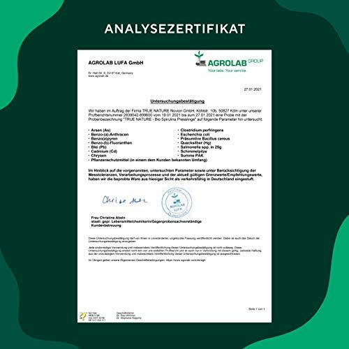 TRUE NATURE® Bio Spirulina Presslinge - 600 Tabletten je 500mg - 6.000mg Hochdosiert - 100% Reine Spirulina Algen aus kontrolliert biologischem Anbau - Vegan, Laborgeprüft, Hergestellt in Deutschland - 6