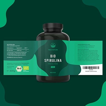 TRUE NATURE® Bio Spirulina Presslinge - 600 Tabletten je 500mg - 6.000mg Hochdosiert - 100% Reine Spirulina Algen aus kontrolliert biologischem Anbau - Vegan, Laborgeprüft, Hergestellt in Deutschland - 7