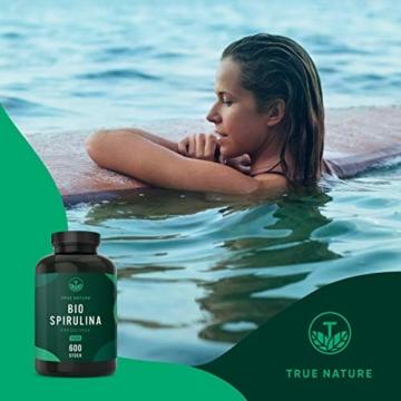 TRUE NATURE® Bio Spirulina Presslinge - 600 Tabletten je 500mg - 6.000mg Hochdosiert - 100% Reine Spirulina Algen aus kontrolliert biologischem Anbau - Vegan, Laborgeprüft, Hergestellt in Deutschland - 8
