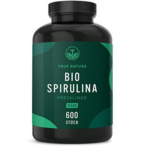 TRUE NATURE® Bio Spirulina Presslinge - 600 Tabletten je 500mg - 6.000mg Hochdosiert - 100% Reine Spirulina Algen aus kontrolliert biologischem Anbau - Vegan, Laborgeprüft, Hergestellt in Deutschland - 1